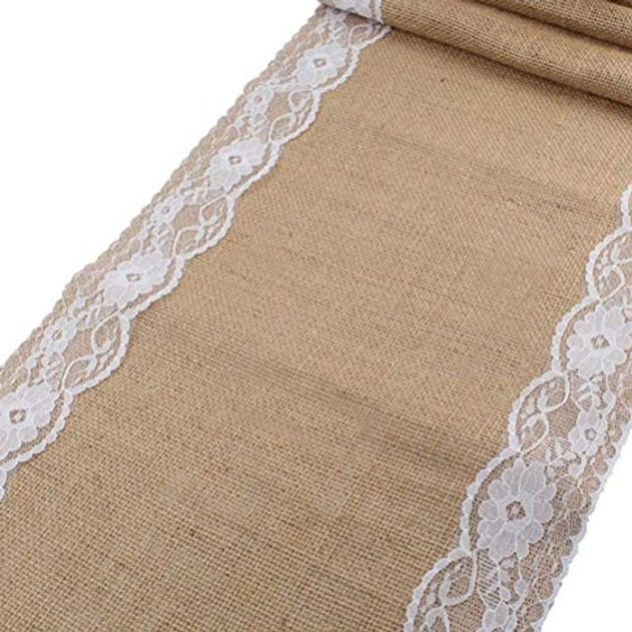 Greenpromise Vintage Burlap Table Runners Rustic Jute with £5 off Coupon