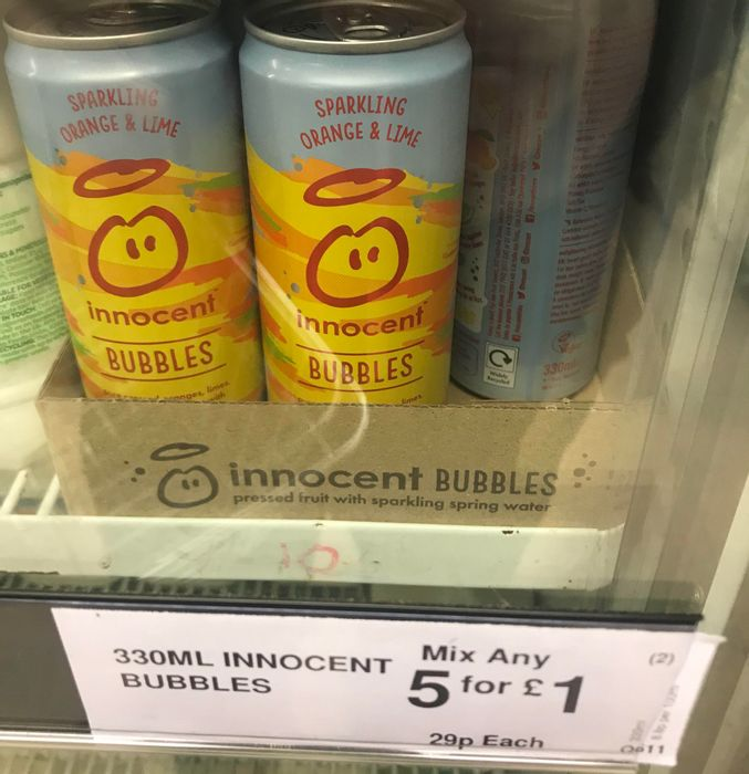 Innocent Bubbles Drinks -330ml Cans - 5 for £1