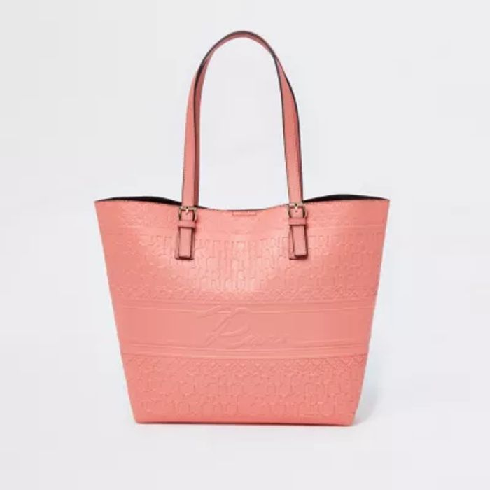 River Island Coral Embossed Shopper Bag