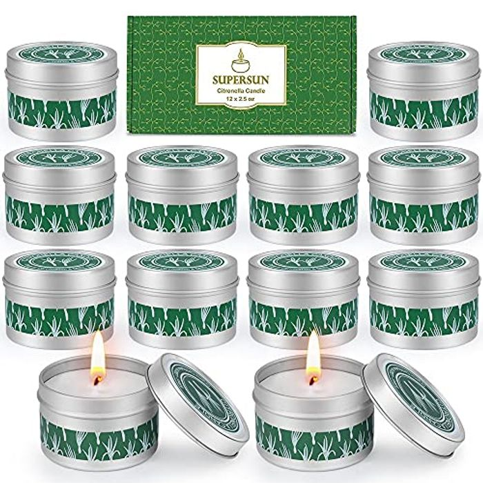 SUPERSUN 12 Garden Citronella Candles - 180-240 Hour Burn Time