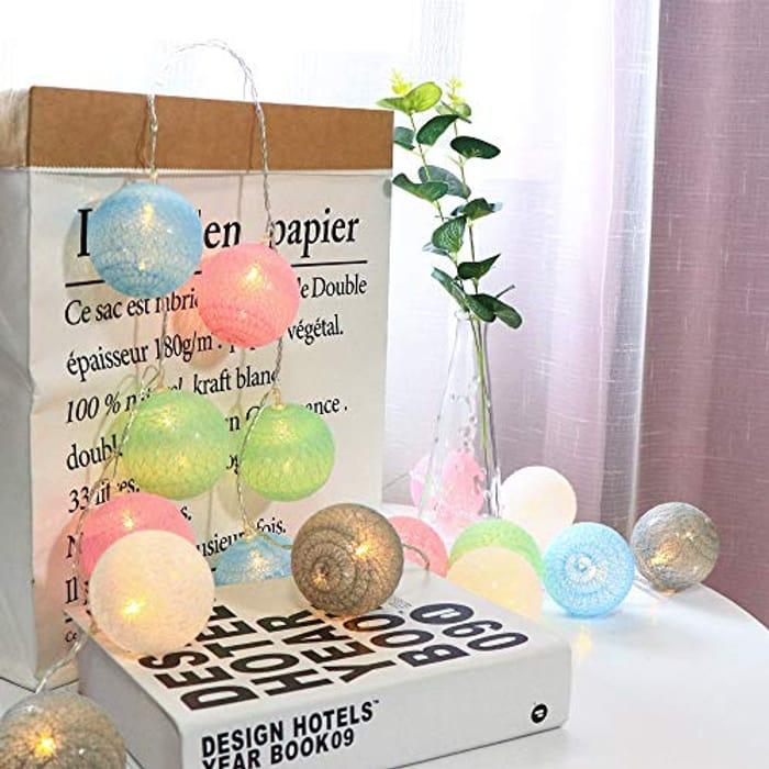 LED String Lights Plug in Indoor - 9.8 Ft 20 Pcs Cotton Ball String Lights