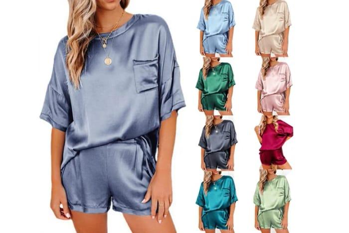 Womens T-Shirt & Shorts Pyjama Set - 8 Colours