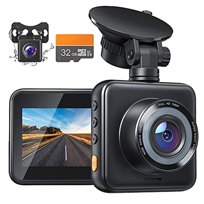 Dual Dash Cam Front and Rear with SD Card Included, 1080P