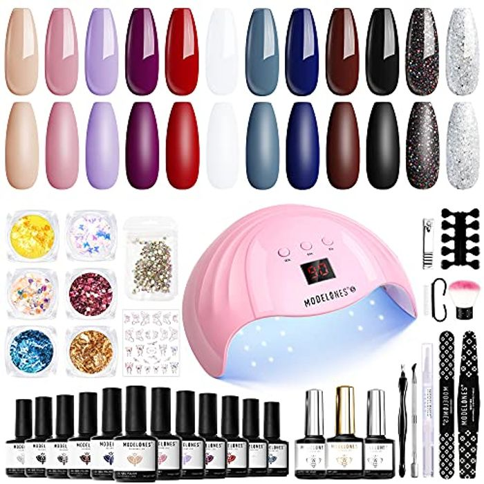 Modelones Gel Nail Kit with UV Lamp - Only £20.99!