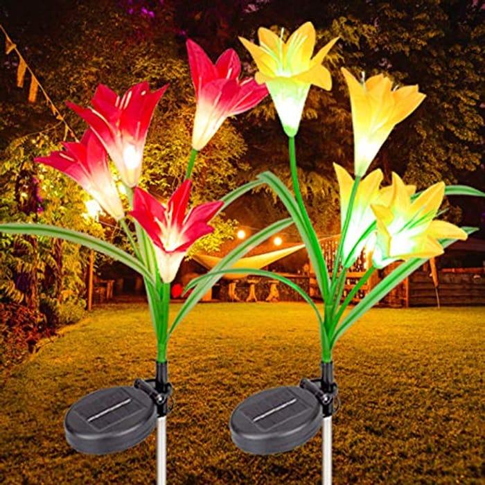 Solar Lights Outdoor Garden, 2 Pack Solar Flower Lights - Only £6.79!