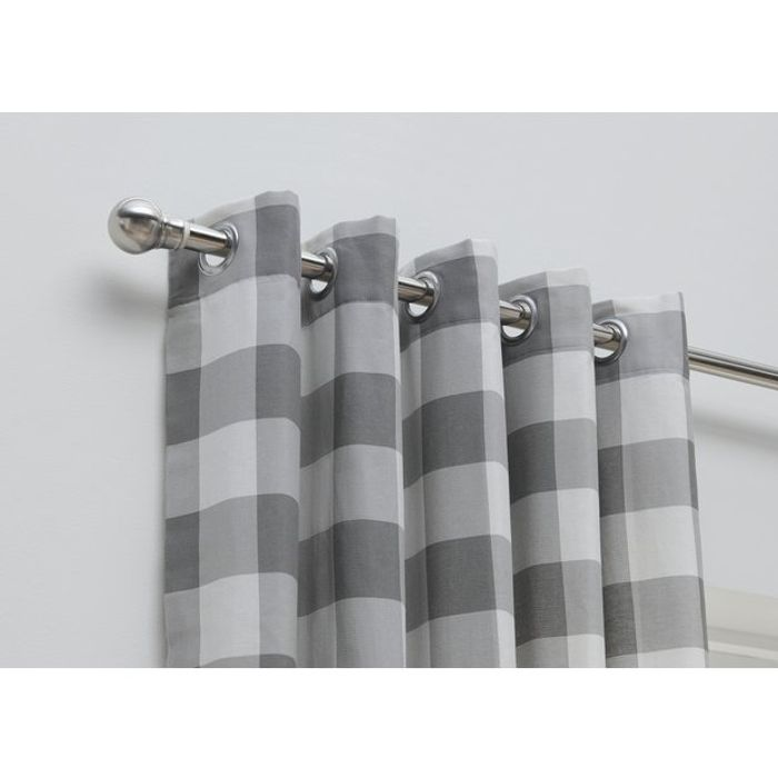 Habitat Printed Check Fully Lined Curtains - Grey