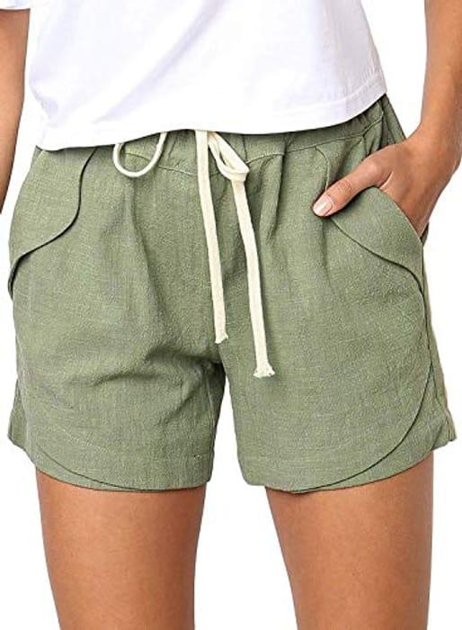 Women's Shorts Summer Casual Drawstring Elastic Shorts Pants with Pockets