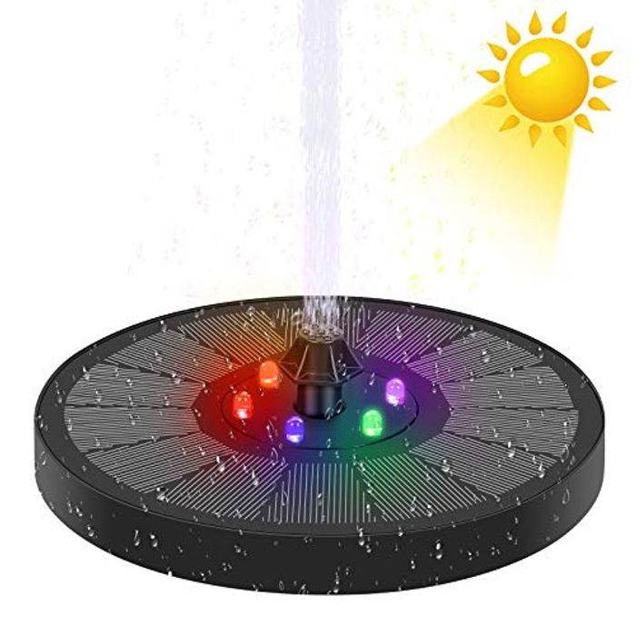 Solar Powered Water Fountain with 7 Water Nozzles