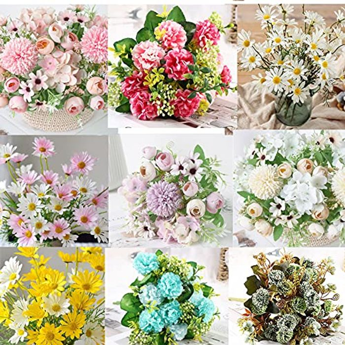 Indoor Outdoor Artificial Silk Plastic Flowers for Decoration - Only £3.99!