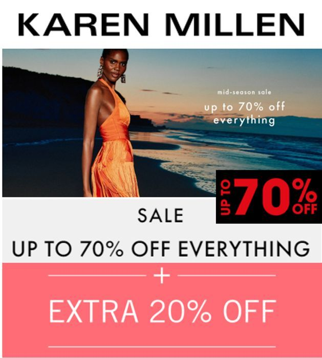Karen Millen - End Of Season Up To 70% Sale + Extra 20% off Code + £1 Delivery!