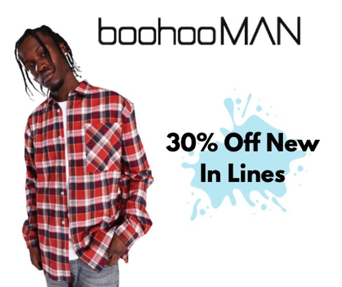 boohooMAN 30% Off New in Clothing and 99p Delivery on All Orders