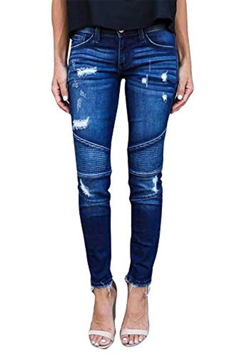 N\C Womens Slim Fit Skinny Denim Ripped Hole Stretchy Jeans - Only £5.00!