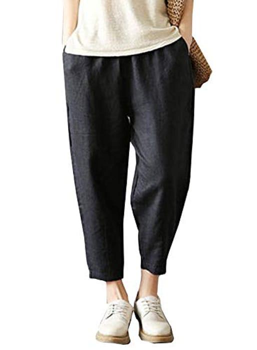 N\C Women's Summer Elastic Casual Cotton Linen Jogger - Only £2.59!
