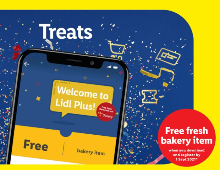 A Free Bakery Item When You Download & Register With Lidl Plus By 1st Sep 2021**