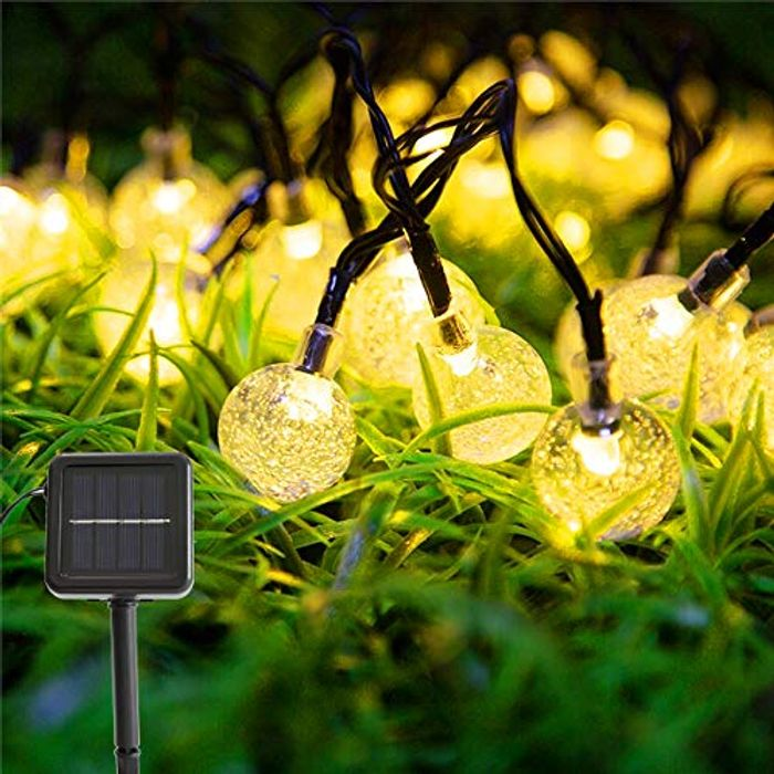 Solar String Outdoor Lights - 10.85M/60LED - Only £4.89!