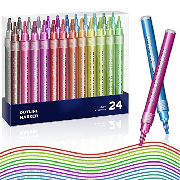 CHEAP! 24 Colour Doodle Dazzles Pens Outline Pens Acrylic Paint Pens Permanent
