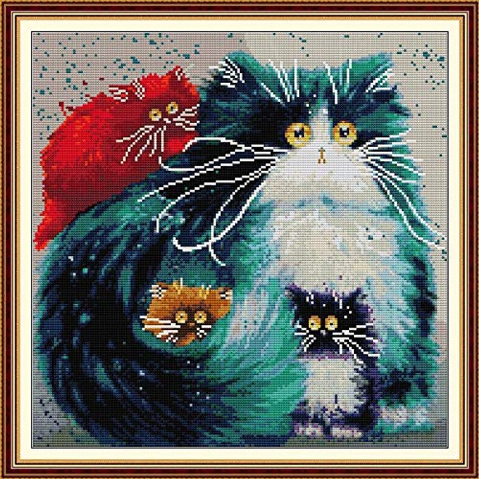 Cross Stitch Kits for Adults Animals Colorful Cat 4040CM