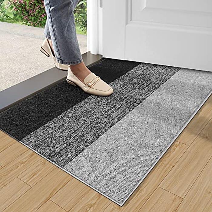 Door Mat 43.5 X 75 Cm, Striped Scraper Loop Dirt Trapper Mat Grey or Blue
