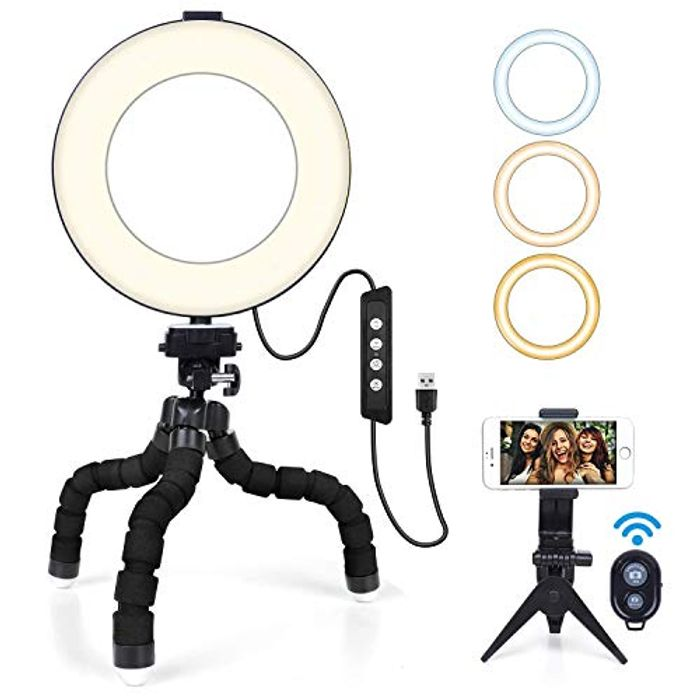 """6"""" Ring Light with Mini Tripod Stand & Phone Holder"""