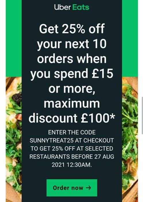 25% off Your next 10 Orders When You Spend £15 or More,