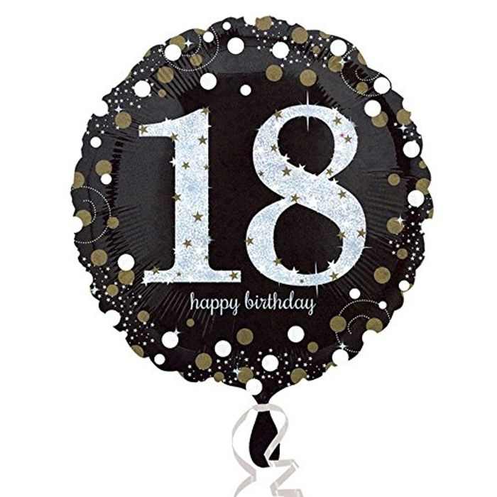 Pre Order - 18th Birthday Glittery Gold Standard Foil Balloon