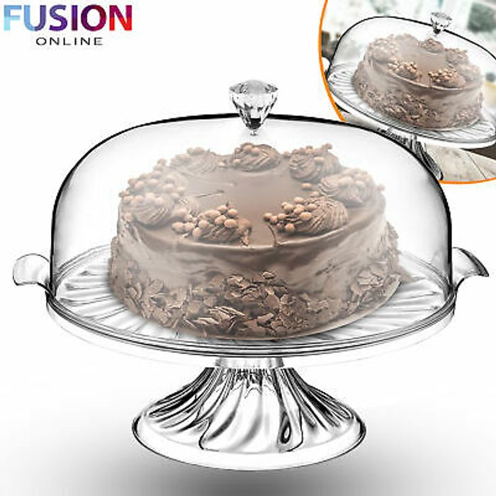 Large Cake Stand 30 CM with Lid Dome Clear Cover Serving Plate Cupcake Display