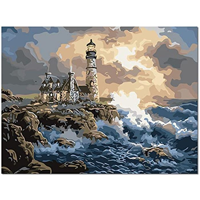 HALFLEMART Lighthouse DIY Paint by Numbers Kit - 40 X 50cm