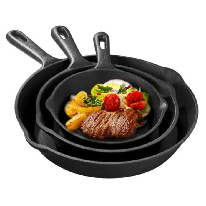 3Pcs CAST IRON Non-Stick Frying Griddle Pan Barbecue Skillets