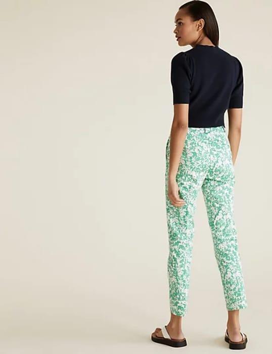 Cotton Slim Fit Floral 7/8 Trousers