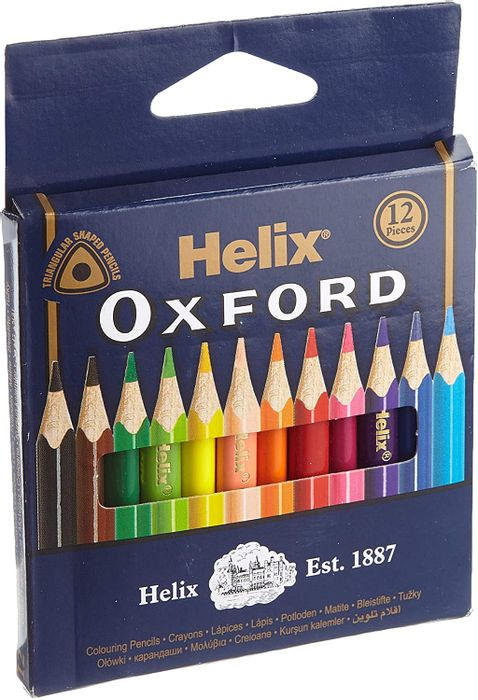 Helix Oxford Mini Colouring Pencils, Assorted - (Pack of 12)