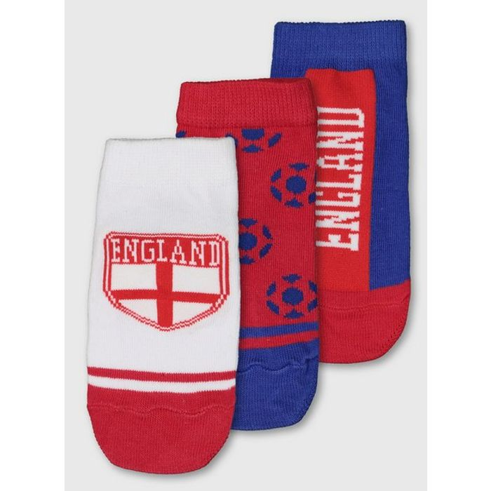 Red, White & Blue 'England' Trainer Socks 3 Pack - Size 6-8.5