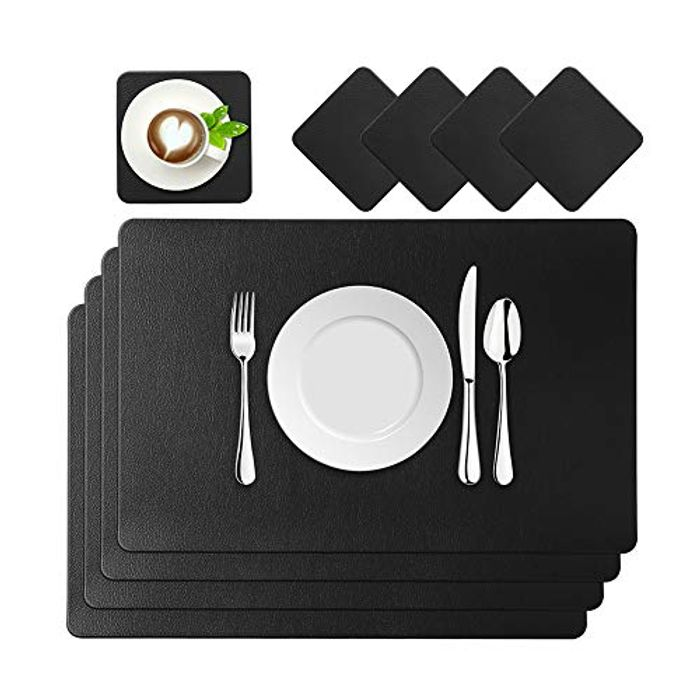 Set of 4 Place Mats and Leather Coasters