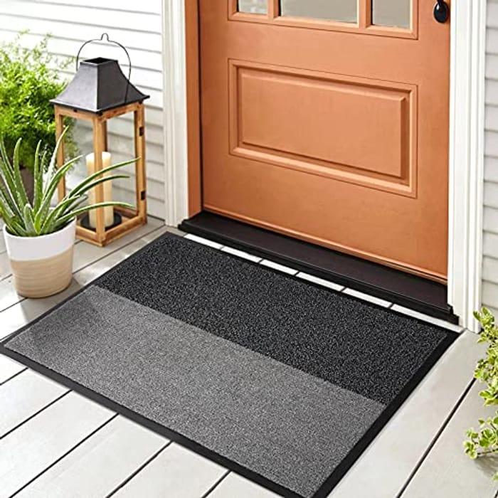 CHEAP! Casmol 2-in-1 Door Mat,Entry Indoor Rug Outdoor - Black/Grey