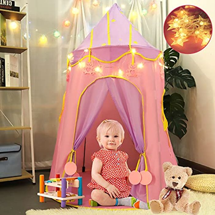 ORICOOL Indoor & Ourdoor Kids Play Tent Castle with Star Lights - Only £14.40!