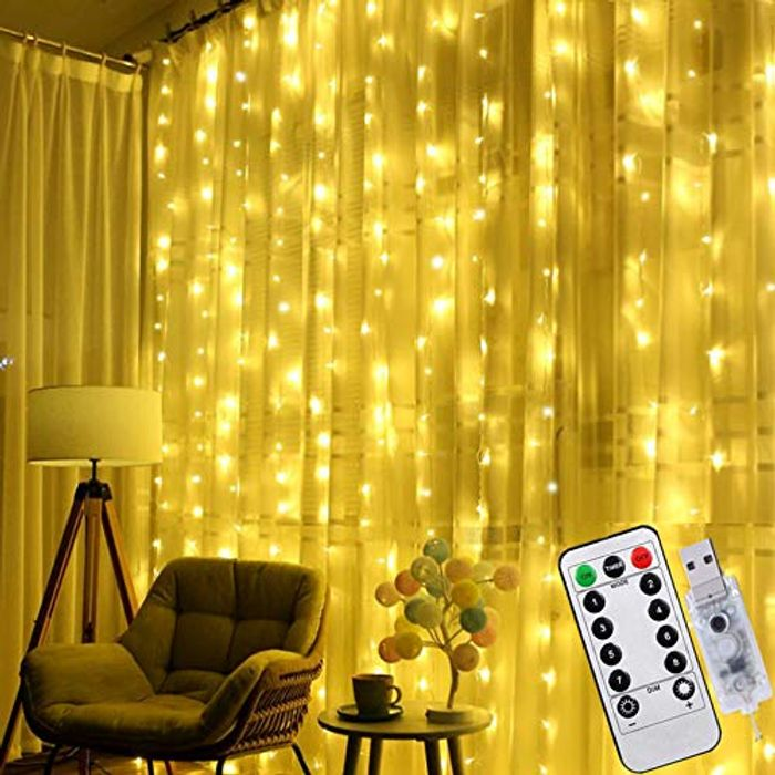 FANSIR 8 Modes Remote Control USB LED Fairy String Curtain Lights - Only £5.98!