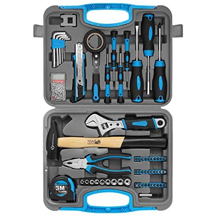 60PCS Household Tool Set Kit with Plastic Storage Case (Blue)