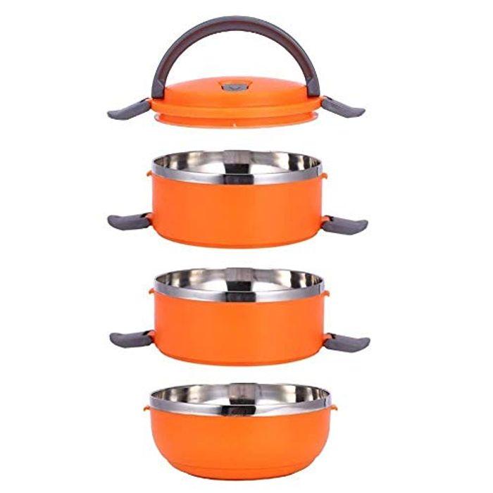 Stainless Steel Thermal Insulated Stackable 3 Layer Lunch Box - Only £6.59!