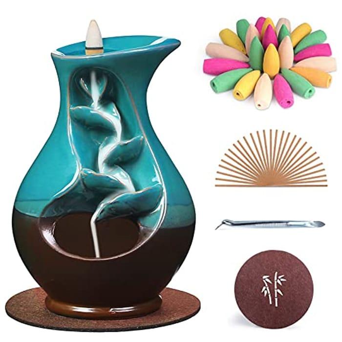 SPACEKEEPER Ceramic Backflow Waterfall Incense Burner Holder - Only £7.19!