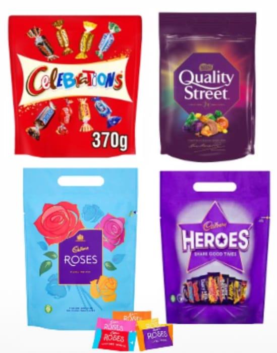 Cadbury Roses,Heroes 257G,Celebrations 370G,Quality Street Pouches Bag 435G Each
