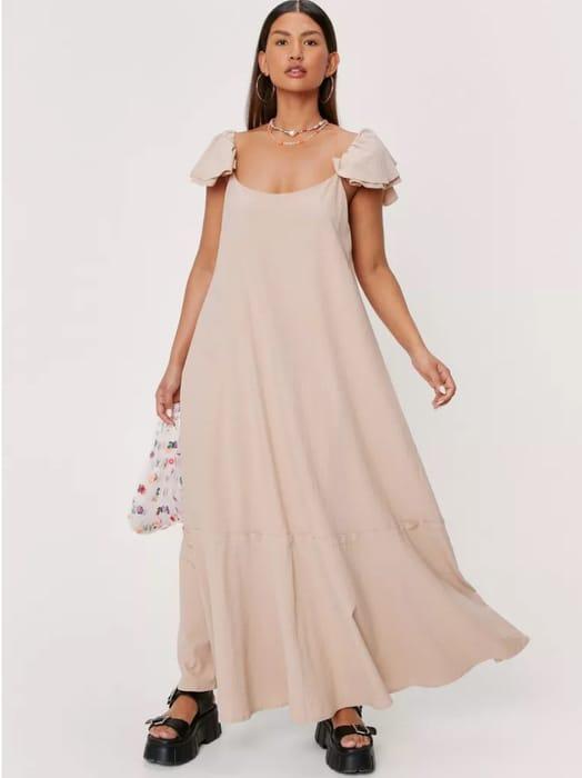 NastyGal Ruffle Linen Look Relaxed Maxi Dress