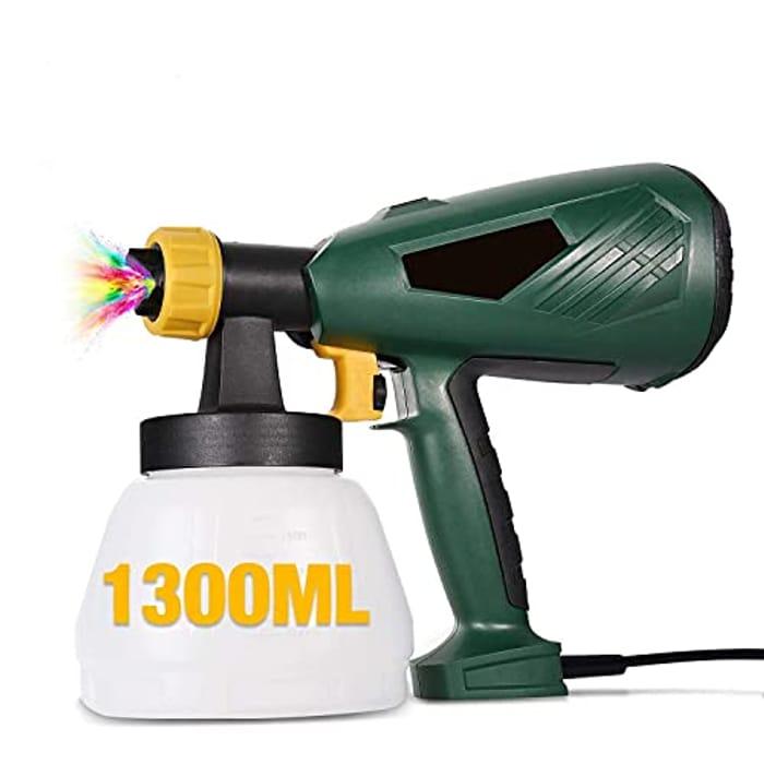 Paint Sprayer, 500W 1300ml HVLP Paint Sprayer Gun - Only £15.99!