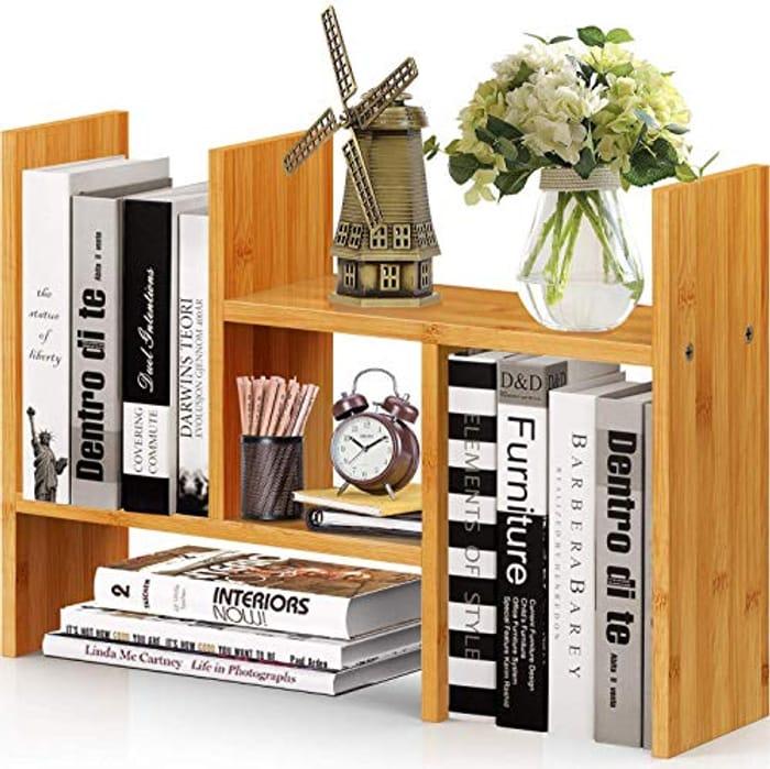 Pipishell Natural Bamboo Desktop Bookshelf - Only £6.84!
