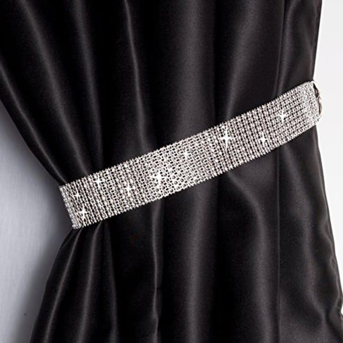 John Aird Pair of Diamante Crystal Tie Backs (Silver)