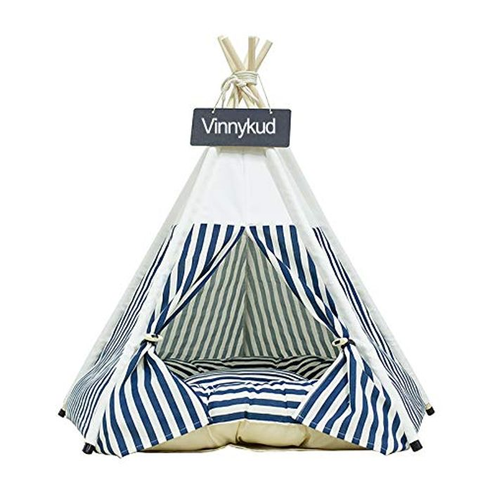 Vinnykud Pets Teepee Dogs Tent Stripes Removable and Washable - Only £20.15!
