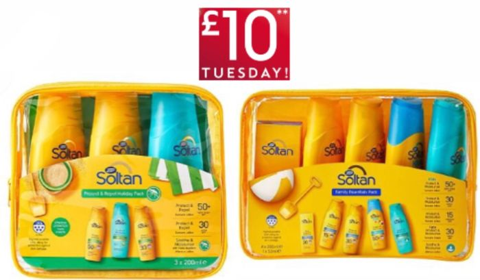 Soltan Essentials Family Pack &Soltan Protect Repel Holiday Each £10,Save 1/3