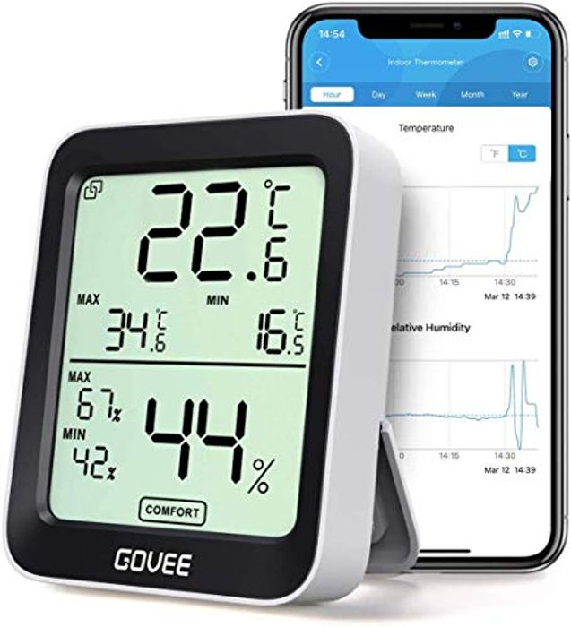 Bluetooth Digital Hygrometer Thermometer with Smart Alert