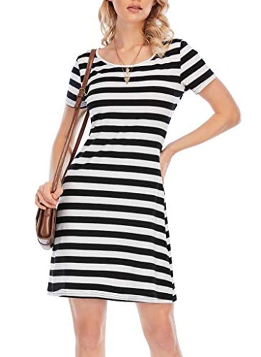 Women's Basic round Short Sleeve Mini Summer Casual Tshirt Dress - Only £3.00!