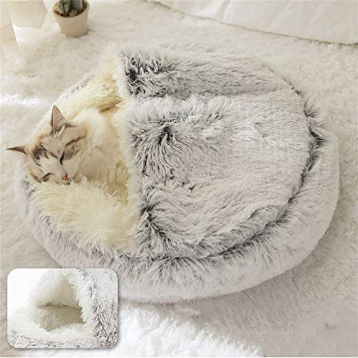 Blivener Hooded Comfortable round Soft Plush Burrowing Pet Bed - Only £7.99!