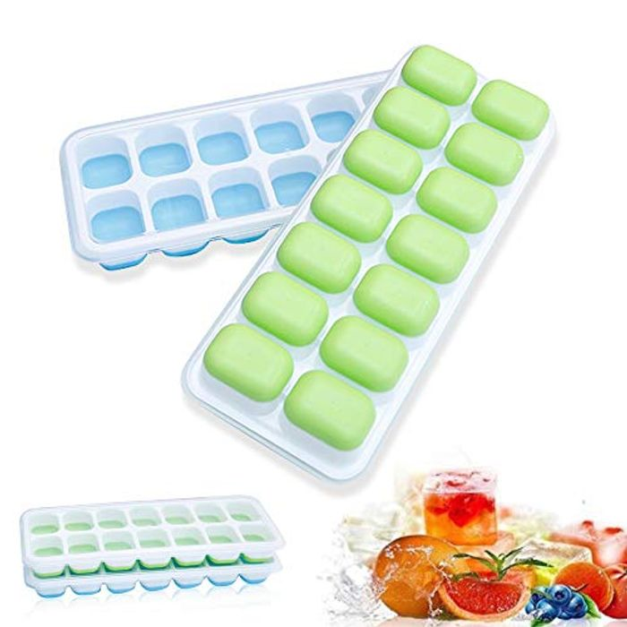 Silicon Stackable Durable Ice Cube Trays Mould with Lids, 2pcs - Only £3.15!