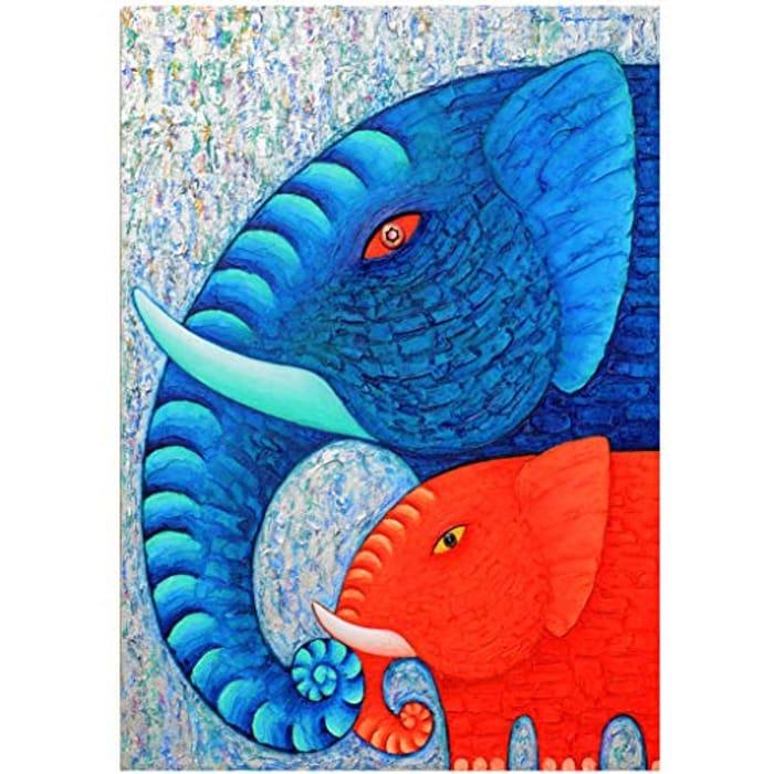 5D Diamond Paint Kit Red and Blue Elephants - 30x40cm